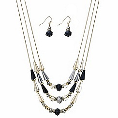 The Collection - Black lantern bead necklace and earring set