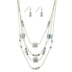The Collection - Multi row green beaded necklace and earring set