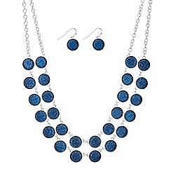 The Collection - Teal crystal druzy double row necklace and earring set