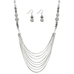 The Collection - Silver pave ball necklace and earring set