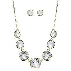 The Collection - Gold square crystal necklace and matching earring set