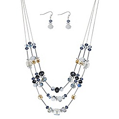 The Collection - Silver square beaded jewellery set