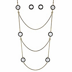 The Collection - Black pearl disc jewellery set