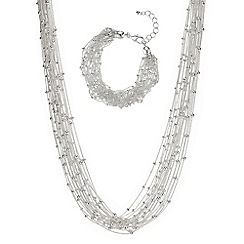 The Collection - Silver multi chain jewellery set