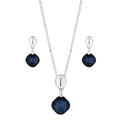 The Collection - Blue crystal square jewellery set