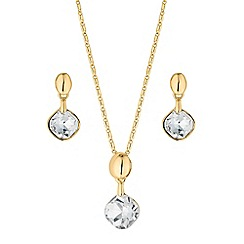 The Collection - Gold crystal square drop jewellery set