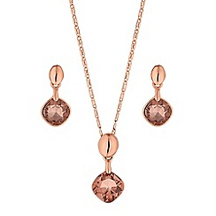 The Collection - Rose gold square drop jewellery set