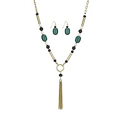 The Collection - Green bead tassel jewellery set