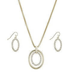 The Collection - Gold crystal pave oval jewellery set