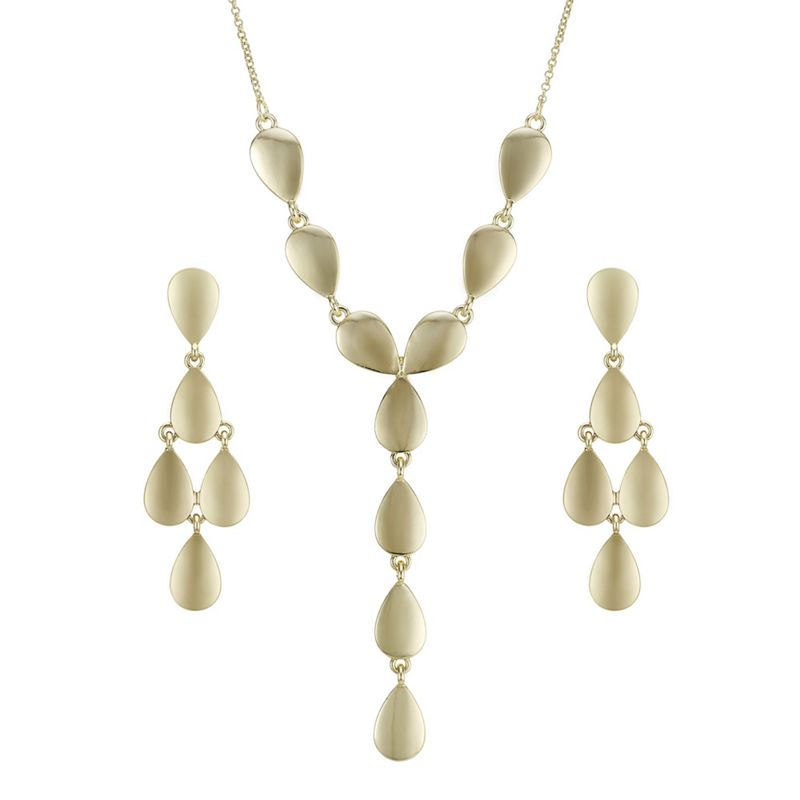 The Collection Gold organic droplet jewellery set