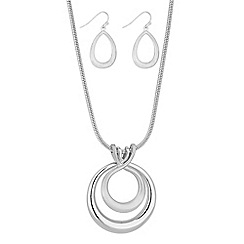 The Collection - Silver double rings necklace and earrings set
