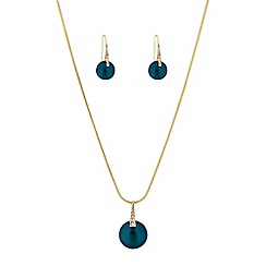 The Collection - Teal button pearl jewellery set