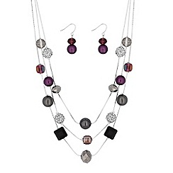 The Collection - Purple bead and crystal jewellery set