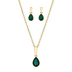 The Collection - Green crystal peardrop jewellery set