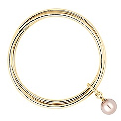 The Collection - Pink pearl charm drop triple bangle