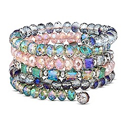 The Collection - Multicoloured mixed bead coil bangle