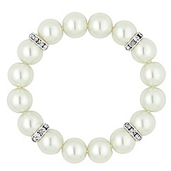 The Collection - Cream pearl and silver rondel stretch bracelet