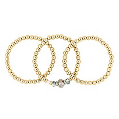 The Collection - Mixed pink bead and gold ball stretch bracelet pack