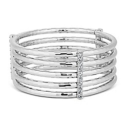 The Collection - Textured silver tube crystal bar stretch bracelet