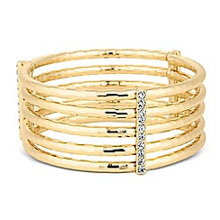 The Collection - Textured gold tube and crystal bar stretch bracelet