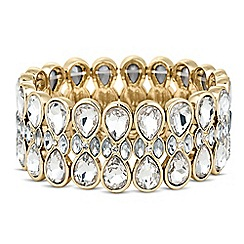 The Collection - Mixed crystal double peardrop stretch bracelet