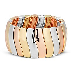 The Collection - Mixed metal triple tone wave stretch bracelet
