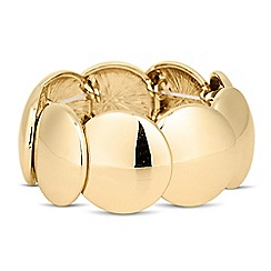 The Collection - Polished gold disc stretch bracelet
