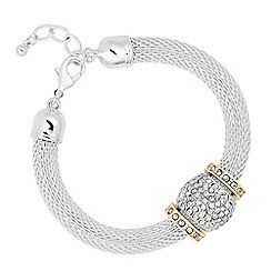 The Collection - Crystal barrel and disc mesh chain bracelet