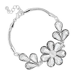 The Collection - Silver crystal flower link bracelet