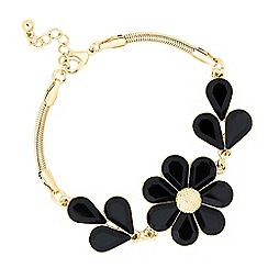 The Collection - Jet and gold flower link bracelet