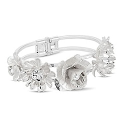 The Collection - Pearl and silver metal flower bangle