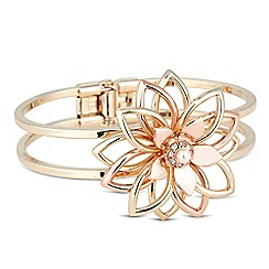 The Collection - Pearl and crystal 3-d flower bangle