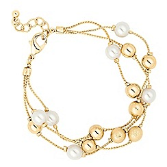 The Collection - Pearl and textured ball multi row bracelet