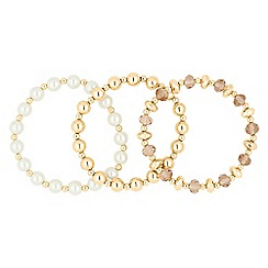 The Collection - Set of three pearl and bead stretch bracelets