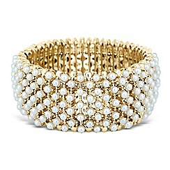 The Collection - Mini pearl encased gold bar stretch bracelet