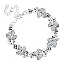 The Collection - Grey navette leaf link bracelet
