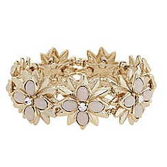 The Collection - Pink stone gold flower stretch bracelet