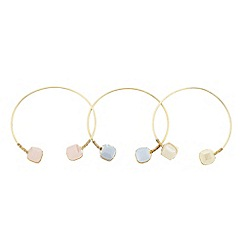 The Collection - Pack of three pastel bead open bangle set