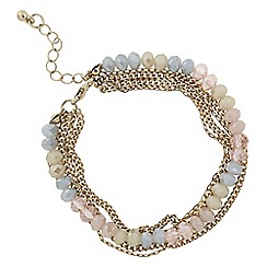 The Collection - Pastel bead and chain multi row bracelet