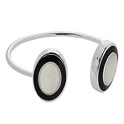 The Collection - Mother of pearl and onyx oval shape bangle