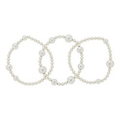 The Collection - Cream mixed pearl stretch bracelet pack