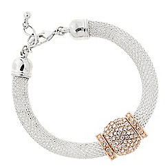The Collection - Two tone pave ball mesh bracelet