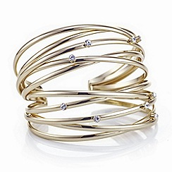 The Collection - Gold multi row crystal cuff bracelet