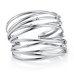 The Collection - Silver multi row crystal cuff bracelet