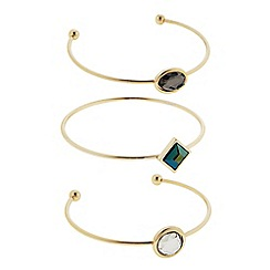 The Collection - Gold mixed shape open bangle set