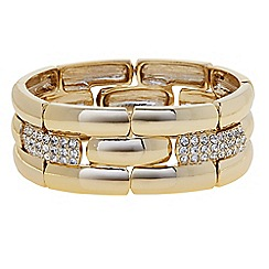 The Collection - Pave crystal link gold stretch bracelet