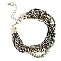 The Collection - Khaki plaited beaded bracelet