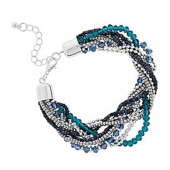 The Collection - Blue beaded plait bracelet