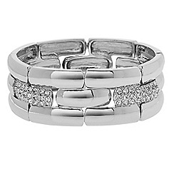The Collection - Pave crystal link silver stretch bracelet