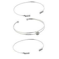 The Collection - Silver crystal open bangle pack